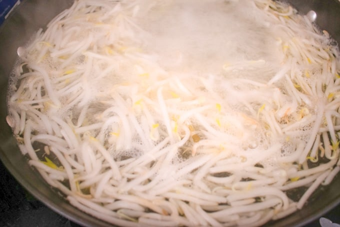 mung bean sprouts boiling in pot