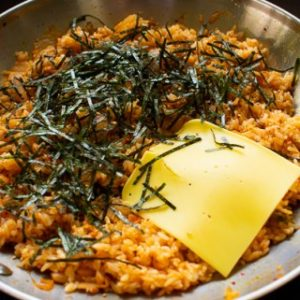 Kimchi Fried Rice with cheese and Seaweed strips