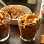 Chili in cups with Thai pork rinds and orion beer