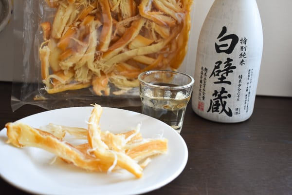 Japanese Dried Squid Paired with Junmai Sake