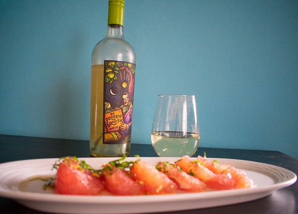 Easy Thai pomelo salad paired with white Rhone wine
