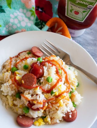 hot dog fried rice with ketchup swirl