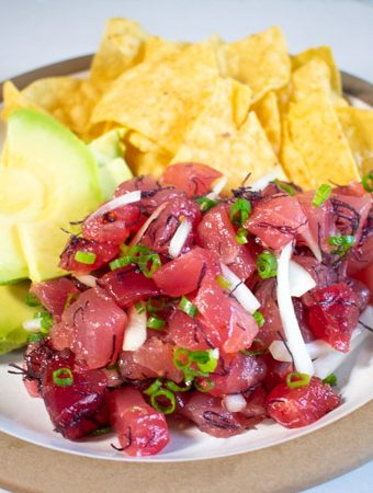 Hawaiian poke with avocado and tortilla chips