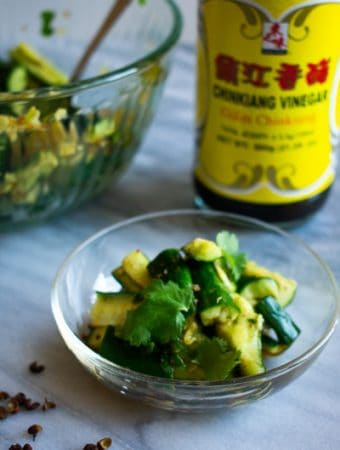 smashed cucumber salad with chinese black vinegar