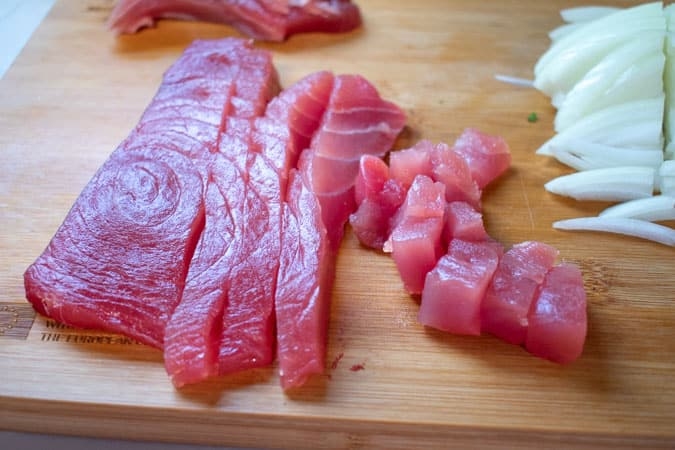 hawaiian poke tuna on cutting board