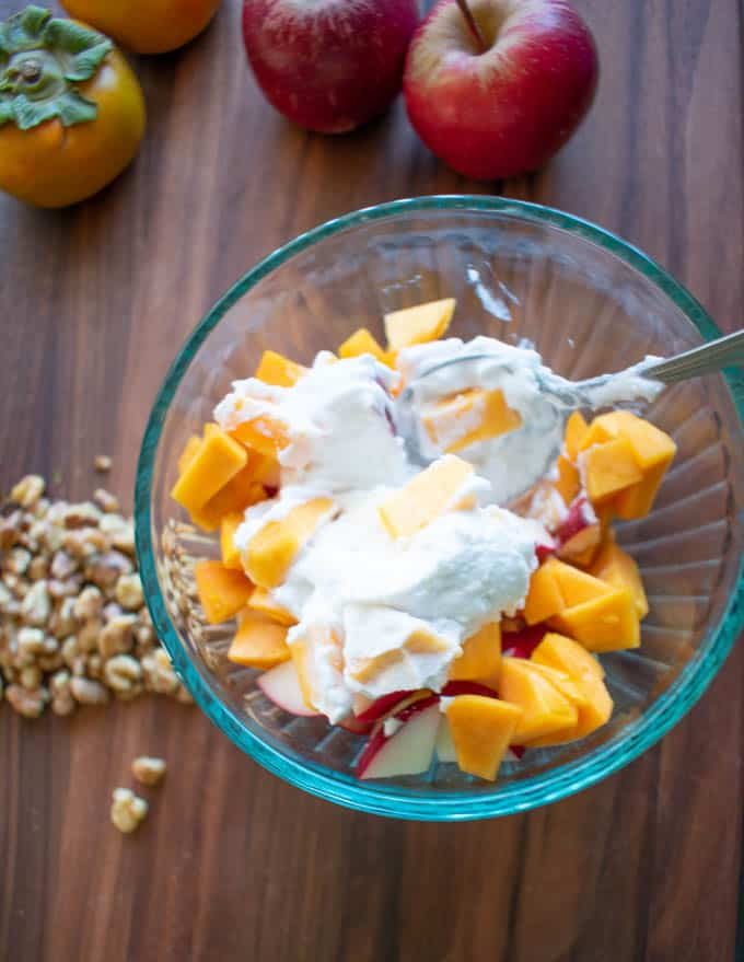 healthy ambrosia salad with persimmons