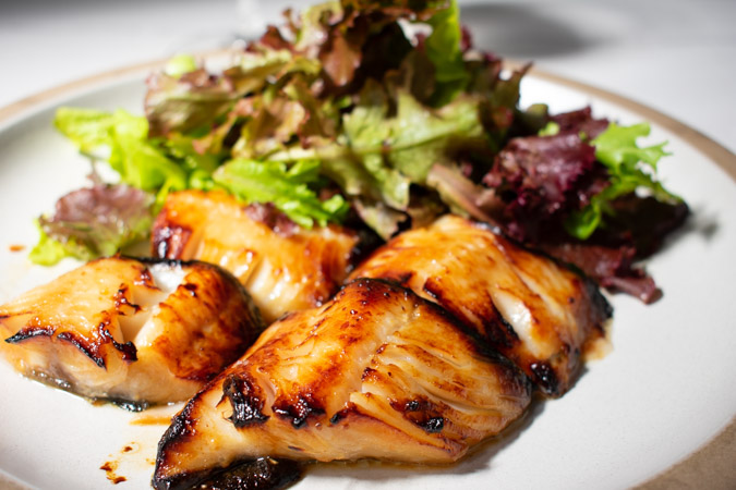 Miso Marinated Black Cod a la Nobu with Salad Greens