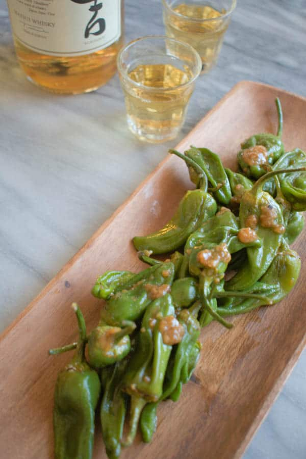 Miso padron peppers paired with whisky