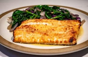 Ling Cod with miso glaze with spinach