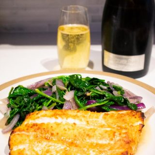 easy baked ling cod with a bottle and glass of sparkling riesling