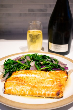 roasted ling cod with sparkling wine
