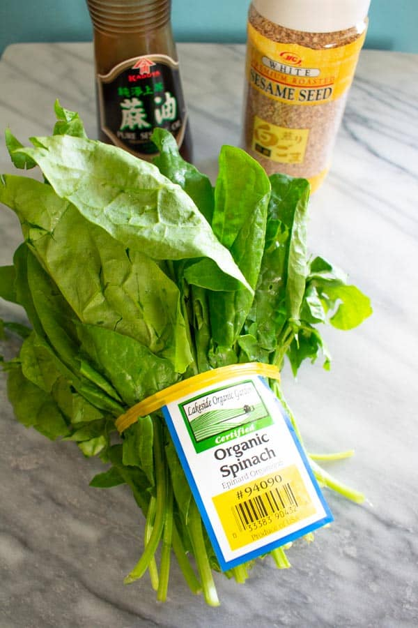 organic spinach for korean sesame spinach