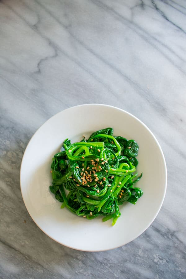 Korean sesame spinach on plate