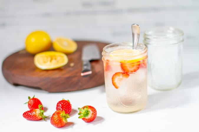 vietnamese lemon soda muddled with fresh stawberries