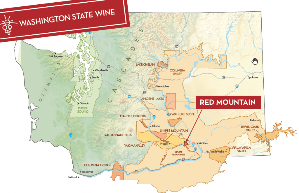 map of Washington state wine regions