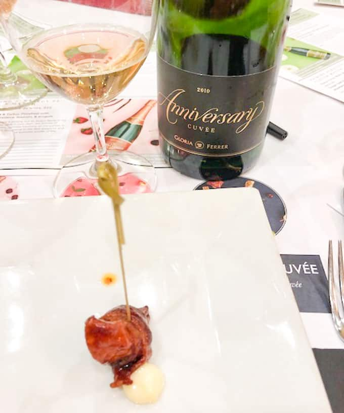 gloria ferrer 2010 anniversary cuvee with bacon wrapped scallop