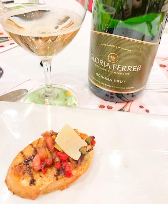 gloria ferrer sonoma brut with tomato bruschetta