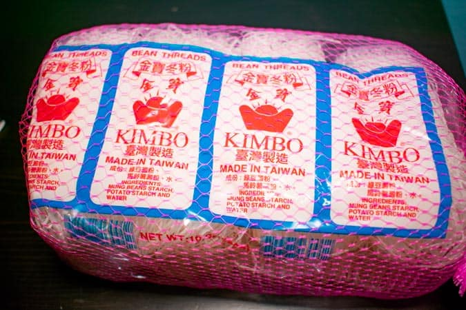 mung bean noodles in pink mesh bag