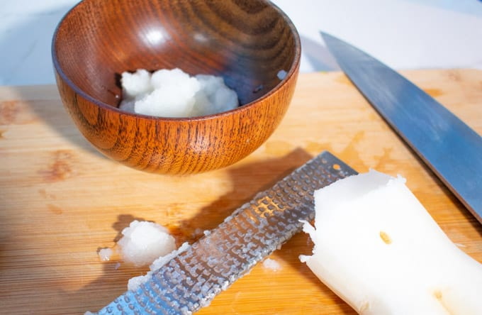 grated daikon on cutting board