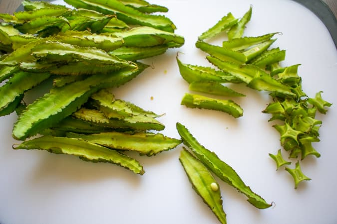 wing beans on cutting board