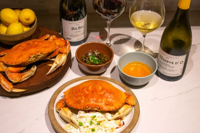 french biodynamic wines with dungeness crabs