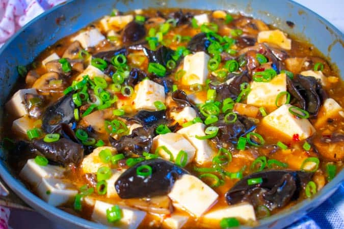 Vegan Mapo Tofu with Caramelized Mushrooms in pan