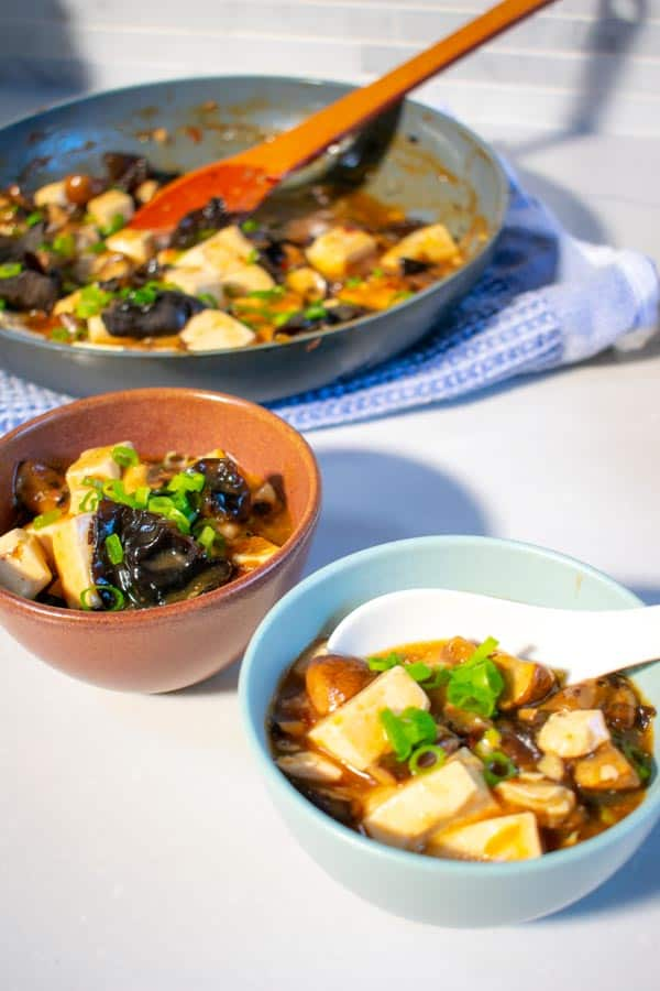 Vegan Mapo Tofu with Caramelized Mushrooms in 2 bowls