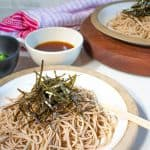 soba noodles on plate with soba noodles sauce