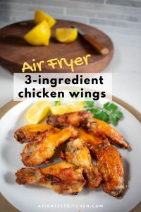Asian Lemon Chicken Wings made in the Air Fryer pinterest image
