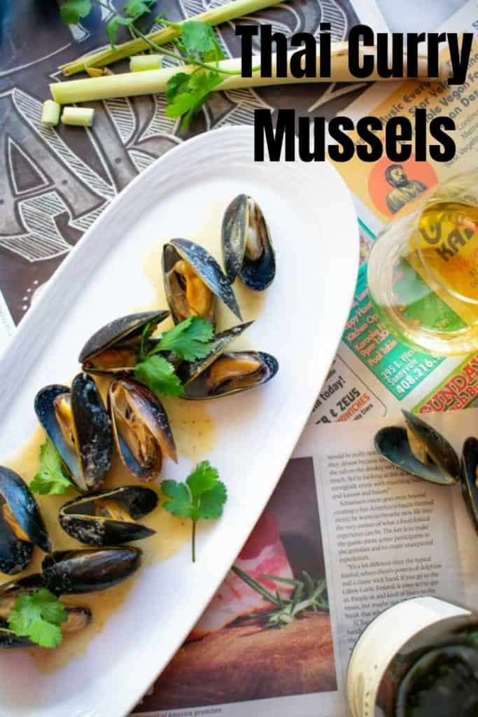 Easy Thai Coconut Curry Mussels pinterest post