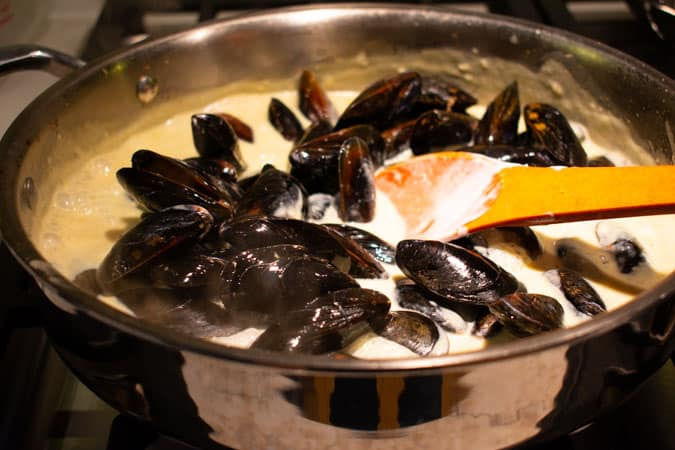 Mussels in pan for Easy Thai coconut curry mussels
