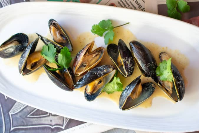 Easy Thai Coconut Curry Mussels on white plate