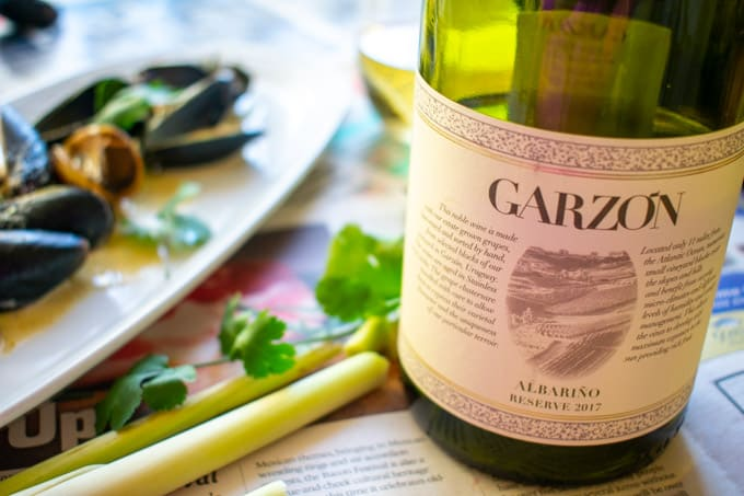 Mussels paired with Bodega Garzon Albarino