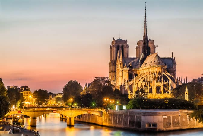 The Notre Dame in Paris at sunset.