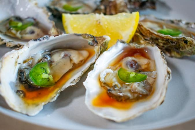 oysters on the half shell with ponzu sauce make a classic chablis food pairing