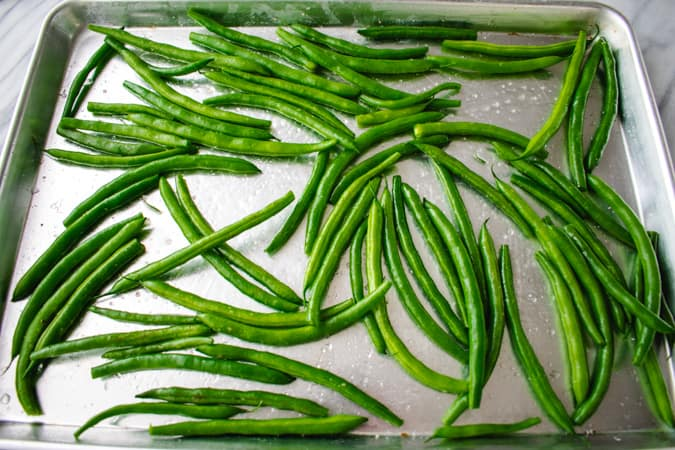 green beans on a baking tray