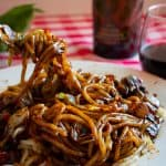 Fork twirling vegetarian black bean sauce noodles - Korean