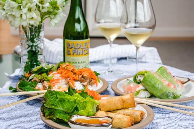Chenin Blanc wine with 3 plates of Vietnamese food