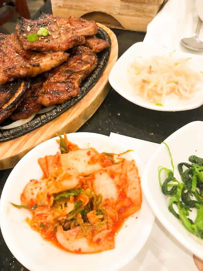 Kimchi and kalbi beef dishes from K Grill & Tofu House