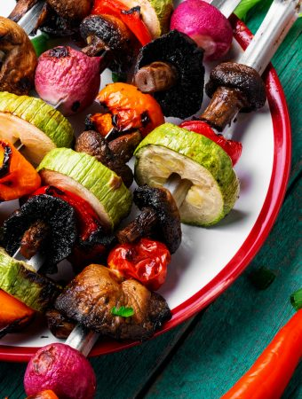 Vegan BBQ Skewers with a glass of red wine