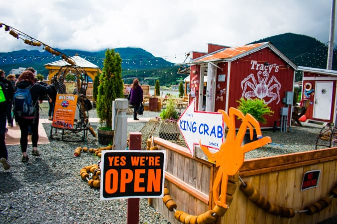 """""""Yes, We're Open"""" sign at Tracy's King Crab Shack #2 in Juneau, Alaska"""
