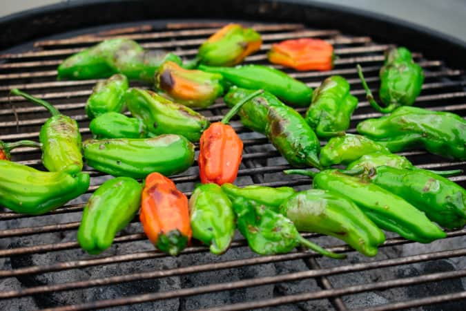 Red and green Shishito Peppers on the grill over charcoal