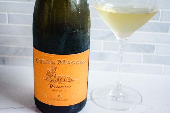Bottle and glass of Pecorino wine from Abruzzo