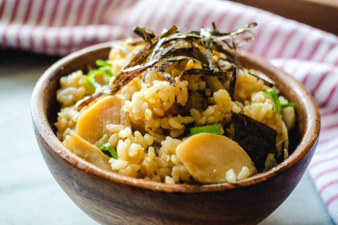 bowl of mushroom rice with nori