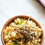 bowl of mushroom rice with nori strips