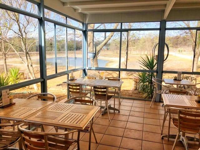 Tasting room and cafe overlooking the pond at Hidden Creek Wines