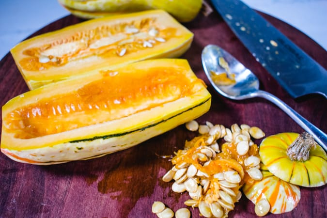 Delicata squash with seeds scraped out