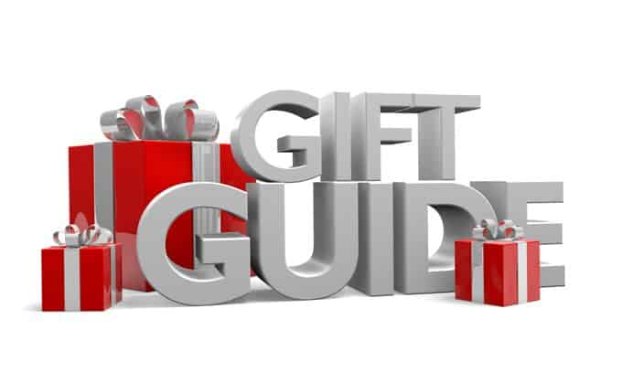 Gift Guide in gray letters with red present images