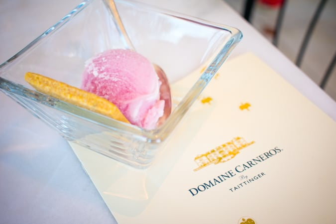 Scoop of wine and cheese ice cream with Domaine Carneros pamphlet