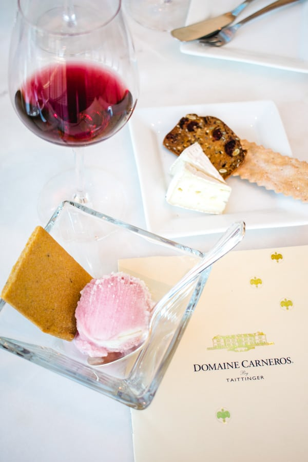 Humphrey slocombe ice cream, domaine carneros pinot noir and laura chenel brie cheese
